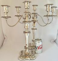 Pair of Edwardian Silver Plated Candelabra (5 of 12)