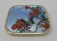 Antique Silver Guilloche Dish Painted with Butterfly & Flowers - 1911 (2 of 11)