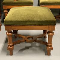 Set of 6 satinwood modular stools in vintage velvet (6 of 8)
