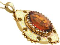 21.63ct Citrine, Enamel and 18ct Yellow Gold Pendant - Antique Victorian (1869) (4 of 9)