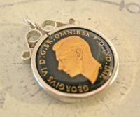 Vintage Pocket Watch Chain Silver Fob 1943 WW2 Multi Enamel Farthing Coin Fob (2 of 8)
