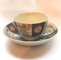 A Porcelain 1st Period Worcester Queen's Imari Tea Bowl & Saucer C.1770 (2 of 7)