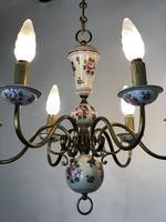 Vintage French Large Porcelain & Brass 6 Arm Flemish Chandelier (4 of 11)
