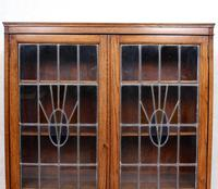Oak Leaded Stained Glazed Bookcase Arts & Crafts Edwardian (10 of 11)