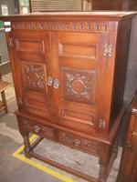 Ornately Carved Oak Old Charm Cocktail Cabinet