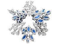 7.95ct Sapphire & 4.75ct Diamond, Platinum Pendant / Brooch - Vintage c.1960 (5 of 9)