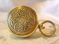 Art Nouveau Pocket Watch Chain Sovereign Case 1910 Chunky Brass Fob