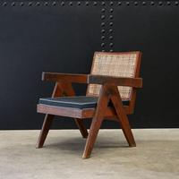 Low Easy Armchair, V-type Legs and Cane by Pierre Jeanneret