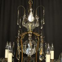 French Gilded Birdcage 11 Light Crystal Antique Chandelier (7 of 10)