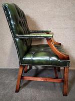 Green Leather Georgian Style Chesterfield Gainsborough Library / Office Chair (4 of 8)