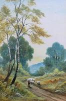 Near Darley Dale 19thc Derbyshire Sheppard Sheep  Landscape Watercolour Painting (7 of 13)