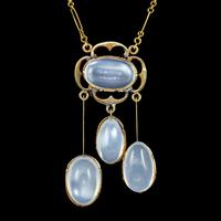Antique Victorian Moonstone Pendant Necklace 15ct Gold 25ct of Moonstone c.1890