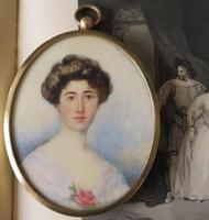 Hand Painted Edwardian Miniature Portrait Young Lady 1910
