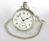 1936 Silver Record Pocket Watch with Chain