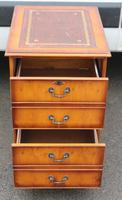 1960s Small Yew Wood Filing Cabinet with Red Leather Inset (2 of 3)