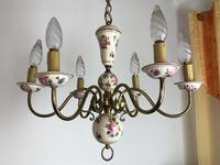 Vintage French Large Porcelain & Brass 6 Arm Flemish Chandelier (7 of 11)
