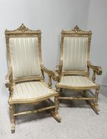 Pair of Regency Painted & Parcel Gilt Rocking Chairs (3 of 17)