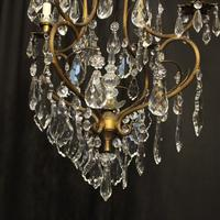 French Gilded Crystal Birdcage 5 Light Antique Chandelier (6 of 10)