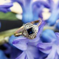 Art Deco 18ct Gold, Sapphire & Diamond Quatrefoil Ring