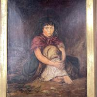 Antique Victorian Oil Painting Portrait of Girl in Red Shawl (4 of 10)