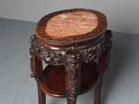 Antique Chinese Qing Dynasty Hongmu & Pink Marble Pedestal (6 of 10)