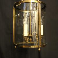 French Convex Gilded Triple Light Antique Lantern (2 of 10)