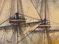 "Seascape Oil Painting Naval Frigate Ships Napoleonic War Sea ""Battle Trafalgar"" (22 of 25)"