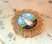 Vintage Pocket Watch Chain Fob 1940s Golden Gilt & Coloured Enamel Sailing Boat Fob (2 of 6)