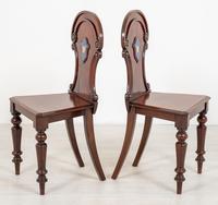 Good Pair of Victorian Mahogany Hall Chairs (6 of 8)