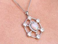 2.47ct Opal & 5.34ct Diamond, Platinum Pendant c.1940 (12 of 12)