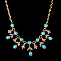 Antique Edwardian Turquoise Pearl Garland Necklace 9ct Gold Circa 1905 (3 of 6)