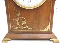 Good Antique French 8-day Arched Top Inlaid Mantel Clock Art Nouveau Mantel Clock (5 of 10)