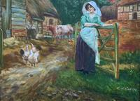 Wonderful Original Signed Vintage Oil Painting - Pretty Milkmaid in Farmyard (7 of 12)
