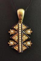 Victorian Blue Enamel & Split Pearl Pendant, 9ct Gold (8 of 12)