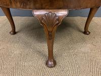 Queen Anne Style Round Burr Walnut Coffee Table (6 of 6)