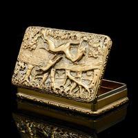 Georgian Solid Silver Gilt Snuff Box With Spectacular Fox Hunting Scene - Edward Smith 1832 (21 of 22)