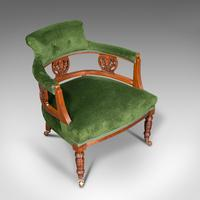 Antique Tub Chair, English, Velvet, Mahogany, Elbow, Seat, Edwardian c.1910 (7 of 12)