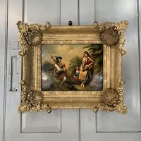 Antique Georgian oil painting on tin of piper playing to two ladies (10 of 12)