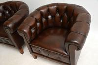 Pair of Antique Swedish  Leather Chesterfield Armchairs (4 of 9)