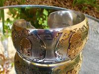 Rare Stunning Art Deco Solid Silver & 18k Gold Shield Mounted Bracelet / Bangle (6 of 8)