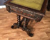Victorian Carved Oak Desk Library Table (24 of 25)