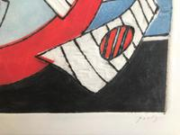 Original coloured etching 'Abstract shapes' by Henri Goetz 1909-1989. Signed and numbered 24/46 (2 of 3)