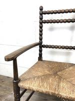Antique Child's Bobbin Chair with Rush Seat (7 of 10)