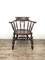 19th Century Ash and Elm Smoker's Bow Chair or Captain's Armchair (10 of 11)