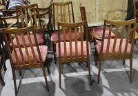 Gplan 1960s Set 6 Quality Walnut Dining Chairs Pink Stripe Seats (3 of 4)