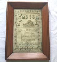 Rare & Fine Embroidery Silk Textile Scottish Castle Sampler c.1841 (3 of 9)