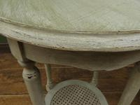 Pair of Round Gustavian Shabby Chic bedside Tables, White & Grey (10 of 12)