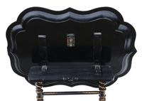 Victorian Tilt Top Decorated Black Lacquer Tray Top Coffee Table (6 of 11)