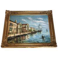 Large Italian Art Impressionism Oil Marine Painting Ships Docked Island Giudecca Venice Waterfront (12 of 12)