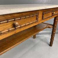 French Marble Top Faux Bamboo Dressing Table (5 of 8)